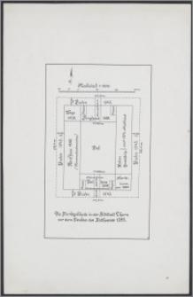 Die Marktgebäude in der Altstadt Thorn vor dem Neubau des Rathauses 1393 : Maßstab 1:500
