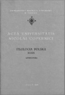 Acta Universitatis Nicolai Copernici. Nauki Humanistyczno-Społeczne. Filologia Polska, z. 39 (245), 1993