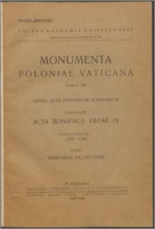 Acta Bonifacii Papae IX Fasc. 1, (1389-1391)