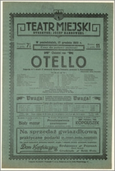 [Afisz:] Otello. Tragedja w 5 aktach (7 obrazach) Williama Szekspira