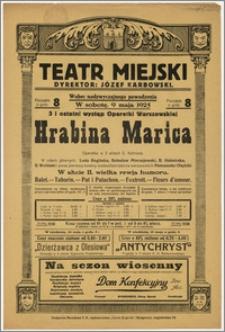 [Afisz:] Hrabina Marica. Operetka w 3 aktach
