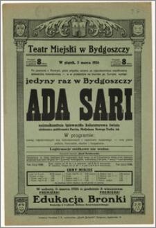 [Afisz:] Ada Sari. Jedyny raz w Bydgoszczy