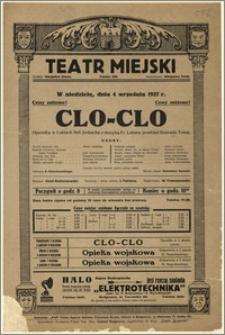 [Afisz:] Clo-Clo. Operetka w 3 aktach Beli Jenbacha