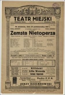 [Afisz:] Zemsta Nietoperza. Opera komiczna w 3 aktach, słowa Hoffnera i Genée