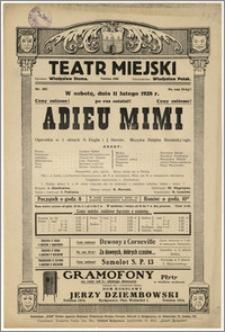 [Afisz:] Adieu Mimi. Operetka w 3 aktach A. Engla i J. Horsta