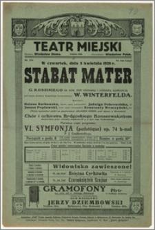 [Afisz:] Stabat Mater G. Rossiniego na sola, chór mieszany i orkiestrę symfoniczną
