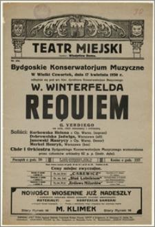 [Afisz:] Requiem G. Verdiego na sola, chór mieszany i orkiestrę