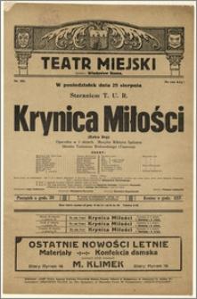 [Afisz:] Krynica Miłości (Extra Dry). Operetka w 3 aktach Tadeusza Wołowskiego (Taurosa)