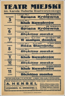 [Afisz:] Repertuar tygodniowy. 5-11 grudnia 1938 r.