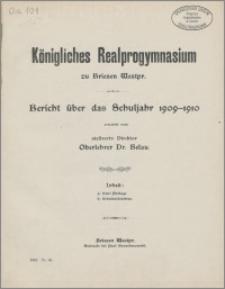 Bericht über das Schuljahr 1909-1910