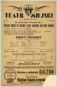 [Afisz:] Damy i Huzary. Komedja w 3 aktach prozą Al. hr. Fredry