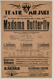 [Afisz:] Madama Butterfly. Opera w 3 aktach G. Puccini'ego