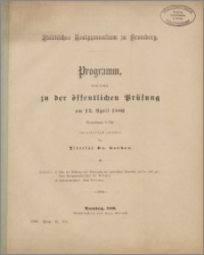 Programm, durch welches zu der öffentlichen Prüfung am 13 April 1886