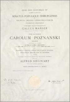 Dyplom złożenia egzaminu doktorskiego na Wydziale Prawa Uniwersytetu we Fryburgu (Szwajcaria)