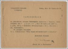 Zaproszenie na posiedzenie naukowe Towarzystwa Naukowego w Toruniu ... 18 listopada 1949 r.
