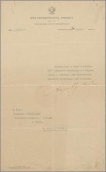 Nominacja na stanowisko Kierownika Konsulatu Generalnego w Paryżu, Warszawa, 30 grudnia 1926 r.