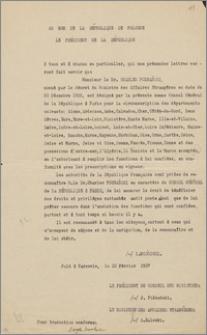 Odpis listu uwierzytelniającego/akredytacyjnego wystawionego dla Konsula Generalnego RP w Paryżu – Karola Poznańskiego przez Prezydenta Ignacego Mościckiego, Warszawa, 10 lutego 1927 r.,
