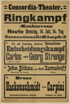 [Afisz:] Ringkampf-Konkurrenz. 14. Juli