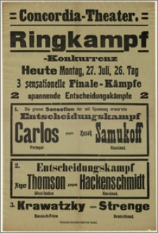 [Afisz:] Ringkampf-Konkurrenz. 27. Juli