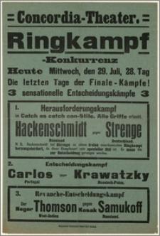 [Afisz:] Ringkampf-Konkurrenz. 29. Juli