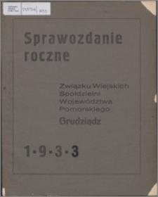Sprawozdanie Roczne Związku Wiejskich Spółdzielni Województawa Pomorskiego 1933