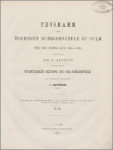 Programm der hoeheren Buergerschule zu Culm für das Schuljahr 1864-65