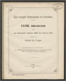 Kgl. evangel. Gymnasium zu Graudenz. XXVIII. Jahresbericht