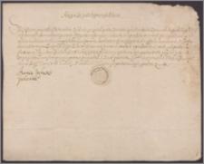 Anna Jagiellonka królowa polska kwituje Hieronimowi Bużeńskiemu odbiór pensji z żup krakowskich za IV kwartał 1573 r. w sumie 500 złp