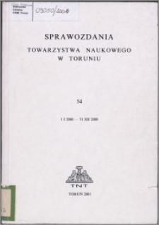 Sprawozdania Towarzystwa Naukowego w Toruniu 2000, nr 54