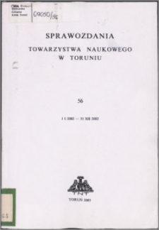 Sprawozdania Towarzystwa Naukowego w Toruniu 2002, nr 56