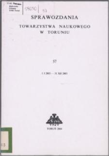 Sprawozdania Towarzystwa Naukowego w Toruniu 2003, nr 57