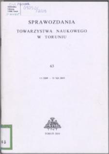 Sprawozdania Towarzystwa Naukowego w Toruniu 2009, nr 63
