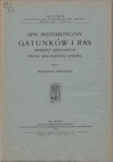 Spis systematyczny gatunków i ras zwierząt kręgowych fauny wschodniej Syberii
