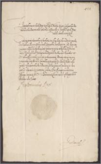 Zygmunt III król polski kwituje żupników krakowskich Marcina Dobroszewskiego i Jana Babtystę Czeki z kwoty 3700 złp wypłaconej na kuchnie i stajnie królewskie