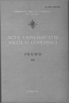 Acta Universitatis Nicolai Copernici. Nauki Humanistyczno-Społeczne. Prawo, z. 19 (115), 1981