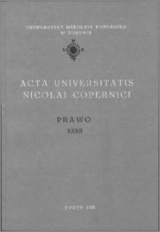 Acta Universitatis Nicolai Copernici. Nauki Humanistyczno-Społeczne. Prawo, z. 32 (256), 1992