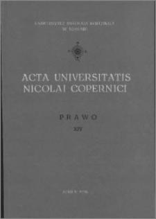 Acta Universitatis Nicolai Copernici. Nauki Humanistyczno-Społeczne. Prawo, z. 14 (75), 1976