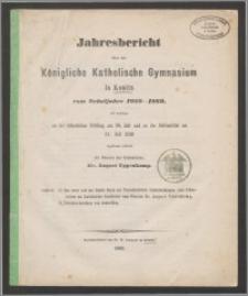 Jahresbericht über das Königliche Katholische Gymnasium in Konitz vom Schuljahre 1868-1869