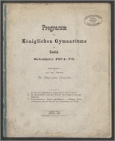 Programm des Königlichen Gymnasiums in Conitz Schuljahr 1874-1875