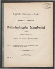 Königliches Gymnasium zu Conitz. Schuljahr 1883/84. Dreiundsechzigster Jahresbericht