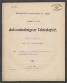 Königliches Gymnasium zu Conitz. Schuljahr 1888/89. Achtundsechzigster Jahresbericht