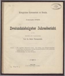 Königliches Gymnasium zu Konitz. Schuljahr 1892/93. Zweiundsiebzigster Jahresbericht
