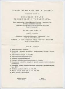 [Zaproszenie. Incipit] Towarzystwo Naukowe w Toruniu ma zaszczyt zaprosić na Doroczne Walne Zgromadzenie ... 19 lutego 1972 roku