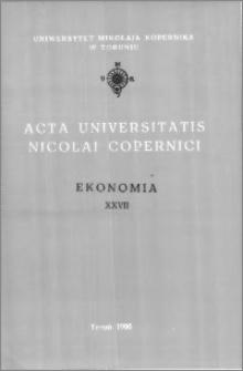 Acta Universitatis Nicolai Copernici. Nauki Humanistyczno-Społeczne. Ekonomia, z. 26 (303), 1996