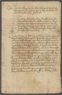 Jan III król polski napomina komisarzy wyznaczonych do sporu o puszczę koweńską między Janem Antonim Chropowieckim wojewodą witebskim a Janem Kazimierzem Kopciem kasztelanem trockim