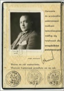 Legitymacja MSZ Karola Poznańskiego nr 1373/1, wydana w Warszawie dn. 21 marca 1935 r.