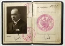 Legitymacja urzędnicza Karola Poznańskiego Konsula Generalnego RP w Paryżu, nr 1423, wydana w Warszawie dn. 17 marca 1927 r
