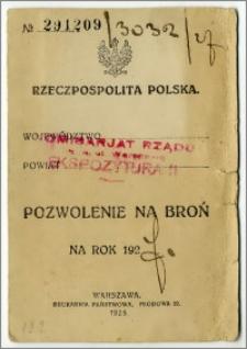 Pozwolenie na broń (Mauser) nr 291209/3032 na rok 1927 r. wydane na nazwisko Karola Poznańskiego przez Komisariat Rządu – Ekspozyturę II m. st. Warszawa w dn. 9 kwietnia 1927.