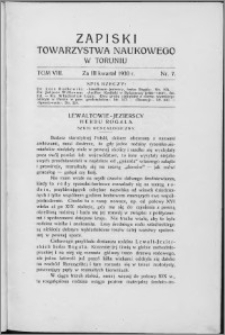 Zapiski Towarzystwa Naukowego w Toruniu, T. 8 nr 7, (1930)