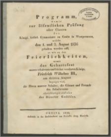 Programm, womit zur öffentlichen Prüfung aller Classen des Königl. kathol. Gymnasium zu Conitz in Westpreussen, welche den 1. und 2. August 1836
